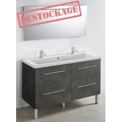 Meuble 120 cm Oxyde + vasque + miroir - 1200 x 480 mm