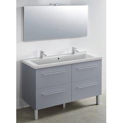 Meuble 120 cm gris fumé + vasque + miroir - 1200 x 480 mm