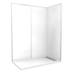 """Cabine de douche """"Espace Douche"""" 160x90 cm blanc uni lisse"""