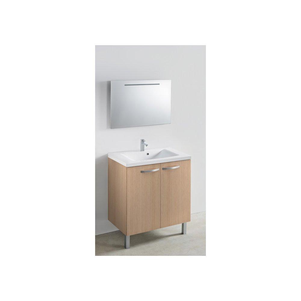 Meuble 80 cm portes + vasque + miroir - 800 x 480 mm