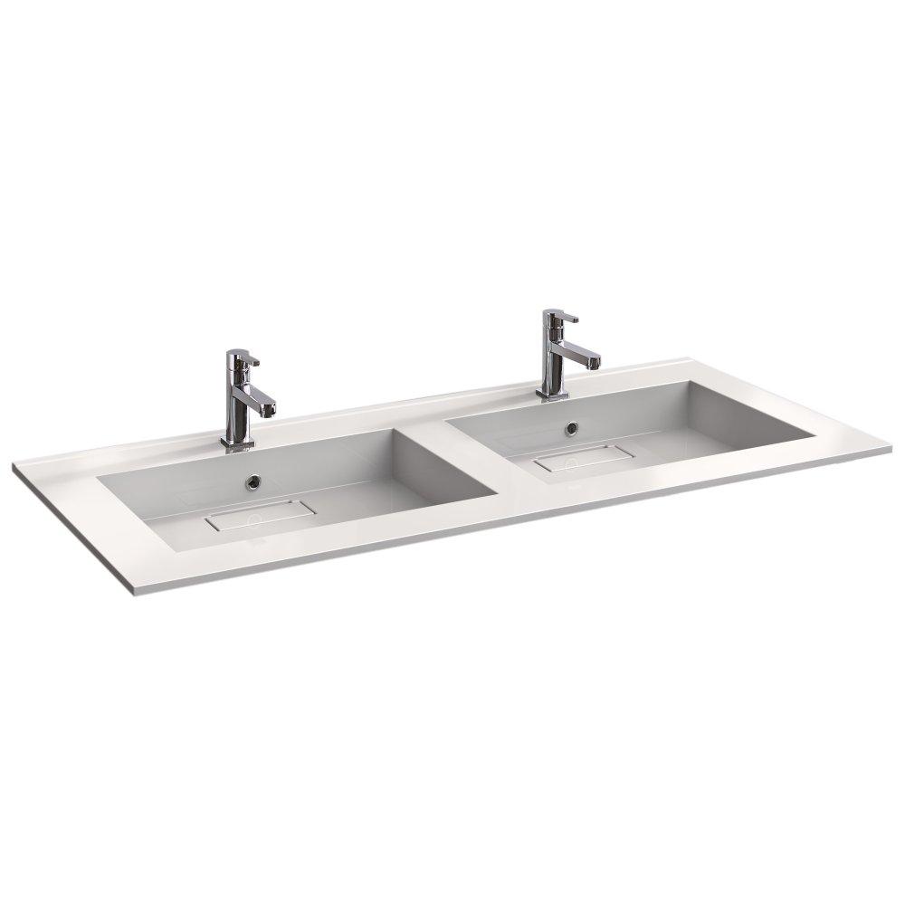 Plan double vasques CAREA éLéGANCE 140 50 cm pour la salle de bain
